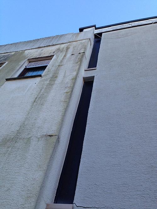 ...außerdem durchfeuchtete die Fassade ganzheitlich und bot so einen perfekten Nährboden für massiven Algenbewuchs.